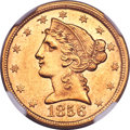 Liberty Half Eagles, 1856-C $5 MS61 NGC. Variety 1....