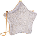 "Luxury Accessories:Bags, Judith Leiber Full Bead Silver Crystal Star Minaudiere Evening Bag.Excellent Condition. 6"" Width x 6"" Height x 2.5"" D..."