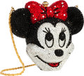 Luxury Accessories:Bags, Kathrine Baumann Limited Edition Full Bead Red, Black & SilverCrystal Minnie Mouse Minaudiere Evening Bag, 130/2500.Very...