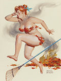Pin-up and Glamour Art, DUANE BRYERS (American, 1911-2012). Fire in Her Leaves, Hildacalendar illustration. Gouache and watercolor on board. 16...