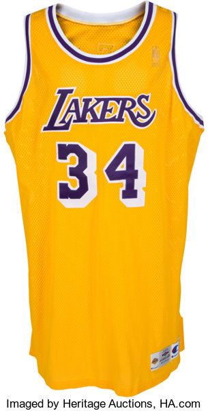9f4602a0d 1996-97 Shaquille O Neal Game Worn Los Angeles Lakers Jersey ...