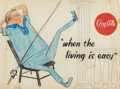 "Mainstream Illustration, AMERICAN ARTIST (20th Century). ""When living is easy,"" Coca-Colaadvertisement preliminary. Colored pencil with white go..."