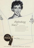 "Mainstream Illustration, AMERICAN ARTIST (20th Century). ""Refreshing News!,"" Coca-Colaadvertisement. Gouache on board with photostat cut-outs in..."