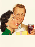 Pulp, Pulp-like, Digests, and Paperback Art, AMERICAN ARTIST (20th Century). Happy Couple, Coca-Colaadvertisement. Acrylic on paper cut-out. 10.5 x 11.5 in.(image)...