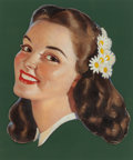 Mainstream Illustration, AMERICAN ARTIST (20th Century). With Daisies in her Hair,advertisement, circa 1936. Oil on canvas cut-out. 25 x 22in....