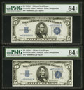 Fr. 1651* $5 1934A Mule Silver Certificates. Two Consecutive Examples. PMG Choice Uncirculated 64 EPQ