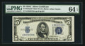 Small Size:Silver Certificates, Fr. 1653 $5 1934C Wide Face Back Plate 637 Mule Silver Certificate. PMG Choice Uncirculated 64 EPQ.. ...