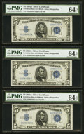 Small Size:Silver Certificates, Fr. 1651 $5 1934A Silver Certificates. Twelve Consecutive Examples. PMG Choice Uncirculated 64 EPQ.. ... (Total: 12 notes)