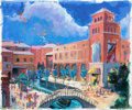 Animation Art:Production Drawing, Epcot Italian Pavilion Painted Concept Art (Walt Disney,1982)....