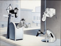 "Animation Art:Production Cel, Private Snafu ""Spies"" Production Cel and Key MasterBackground (Warner Brothers, 1943)...."