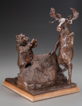 Bronze:American, JOFFA KERR (American, b. 1935). Bear Tender, 1998. Bronzewith brown patina. 16 inches (40.64 cm) high on a 1-1/4 inches...