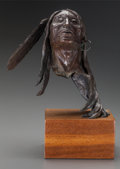 Fine Art - Sculpture, American, ERNEST BERKE (American, b. 1921). Untitled, circa 1981.Patinated bronze, teak. 14 x 6-1/2 x 65-3/4 inches (35.6 x 16.5 ...