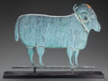 Miscellaneous, AN AMERICAN METAL RAM WEATHERVANE ON WOOD BASE, 20th century. 20 x27 x 5-3/4 inches (50.8 x 68.6 x 14.6 cm). PROPERTY FRO...