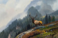 Fine Art - Painting, American:Contemporary   (1950 to present)  , MICHAEL L. COLEMAN (American, b. 1941). Mountain Stag. Oilon board. 9-1/2 x 14-1/2 inches (24.1 x 36.8 cm). Signed lowe...