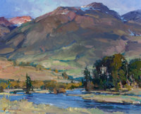 XIANGYUAN JIE (American, 20th Century) Dusk Light on Paradise Valley Oil on canvas 16 x 20 inches