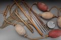 """Miscellaneous, FIVE PIECES OF VICTORIAN FISHING GEAR, circa 1900. Marks to reel:MADE BY HARDY BROS LTD, ENGLAND, THE PERFECT 3 7/8"""". 4...(Total: 5 Items)"""
