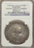 Russia, Russia: Elizabeth Rouble 1752 ММД-E XF Details (Excessive Surface Hairlines) NGC,...