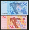World Currency: , West African States Banque Centrale Des Etats De L'Afrique De L'Quest. . ... (Total: 2 notes)