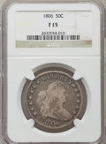 Early Half Dollars: , 1806 50C Pointed 6, Stem, Fine 15 NGC. NGC Census: (49/786). PCGSPopulation (90/890). Mintage: 839,576. Numismedia Wsl. Pr...
