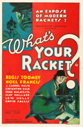 "Movie Posters:Crime, What's Your Racket? (Mayfair Pictures, 1934). One Sheet (27"" X41"").. ..."