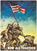 "Movie Posters:War, World War II Propaganda (U.S. Government Printing Office, 1945). 7th War Loan Poster (26"" X 37"") ""Now - All Together."". ..."