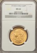 Chile, Chile: Republic gold 20 Pesos 1916-So MS62 NGC,...