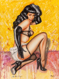 Pin-up and Glamour Art, OLIVIA DE BERARDINIS (American, b. 1948). Bettie Page in BlackGloves, signed by Bettie Page, 1999. Watercolor on board...