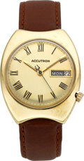 Timepieces:Wristwatch, Bulova 14k Gold Day Date Accutron, circa 1972. ...