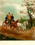 """Books:Prints & Leaves, [Carriage Ride.] Large Chromolithographic Print of """"Tandem"""" by H.Alken. London: G. P. McQueen, 1878...."""