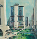Mainstream Illustration, JOHN CONRAD BERKEY (American, 1932-2008). Land and Cityscapesketches (four works). Acrylic on board. 15.75 x 15 in. (im...(Total: 4 Items)