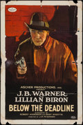 "Movie Posters:Crime, Below the Deadline (Ascher, 1921). One Sheet (27"" X 41""). Crime.. ..."