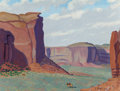 Texas:Early Texas Art - Modernists, FRED DARGE (American, 1900-1978). Rain God Mesa, MonumentValley, Arizona. Oil on canvasboard. 9 x 12 inches (22.9 x30....