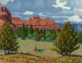 Paintings, FRED DARGE (American, 1900-1978). Approaching Storm, Sedona, Arizona. Oil on canvasboard. 12-1/4 x 16 inches (31.1 x 40....