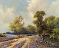 Texas:Early Texas Art - Regionalists, A.D. GREER (American, 1904-1998). Bluebonnet Road to the DuckPond. Oil on canvas. 16 x 20 inches (40.6 x 50.8 cm). Sign...