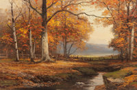 ROBERT WILLIAM WOOD (American, 1889-1979) Autumn in Vermont Oil on canvas 24 x 36 inches (61.0 x