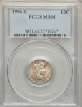 Barber Dimes: , 1906-S 10C MS64 PCGS. PCGS Population (23/47). NGC Census: (27/25).Mintage: 3,136,640. Numismedia Wsl. Price for problem f...