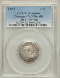Early Dimes, 1805 10C 4 Berries, JR-2, R.2, -- Damage -- PCGS Genuine. VGDetails. NGC Census: (9/220). PCGS Population (0/9). Mintage: ...