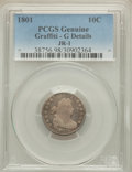 Early Dimes, 1801 10C JR-1, R.4, -- Graffiti -- PCGS Genuine. Good Details. NGCCensus: (0/1). PCGS Population (0/1). Mintage: 34,640....