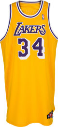 Basketball Collectibles:Uniforms, 1997-98 Shaquille O'Neal Game Worn Los Angeles Lakers Jersey withDated Signature. ...