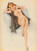 Pin-up and Glamour Art, ALBERTO VARGAS (American, 1896-1982). Reclining Young Redhead onthe Telephone, 1964. Watercolor and pencil on paper. 14...