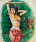 Pulp, Pulp-like, Digests, and Paperback Art, AMERICAN ARTIST (20th Century). Lady of the Jungle, Men'sAdventure Magazine cover. Gouache on board. 15.5 x 14.25 in.(...