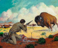 Mainstream Illustration, JOHN DUILLO (American, b. 1928). The Buffalo Hunt. Gouacheon board. 15.25 x 18.25 in. (image). Signed lower right. ...