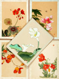 Books:Prints & Leaves, [Botanical Illustrations.] Group of Five Silk Screen Illustrationsof Flowers. [N.p., n.d.]...