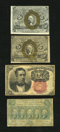 Fractional Currency:Second Issue, Fr. 1232 5c Second Issue Choice About New. Fr. 1233 5c Second Issue VF. Fr. 1266 10c Fifth Issue VG, small repair. Fr. 1310 50... (Total: 4 notes)