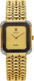 Timepieces:Wristwatch, Rolex Cellini Ref. 4975 Gold Wristwatch With Diamonds. ...