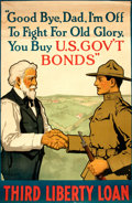 """Books:Prints & Leaves, [World War I Propaganda.] Lawrence Harris, artist. Third LibertyLoan Poster, """"Good Bye, Dad, I'm Off To Fight For Old Glory....."""