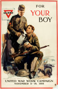 "Books:Prints & Leaves, [World War I]. ""For Your Boy"". Poster advertising the United WarWork Campaign. [N.p., n.d.]..."