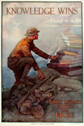 """Books:Prints & Leaves, [World War I]. Dan Smith. Original Lithographic WWI Poster,""""Knowledge Wins."""" Issued by the American Library Association. De..."""