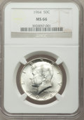 Kennedy Half Dollars: , 1964 50C MS66 NGC. NGC Census: (672/43). PCGS Population (1048/34).Mintage: 273,300,000. Numismedia Wsl. Price for problem...
