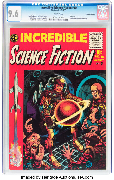 Incredible Science Fiction #30 Gaines File pedigree 12/12 (EC, 1955) CGC NM+ 9.6 White pages....